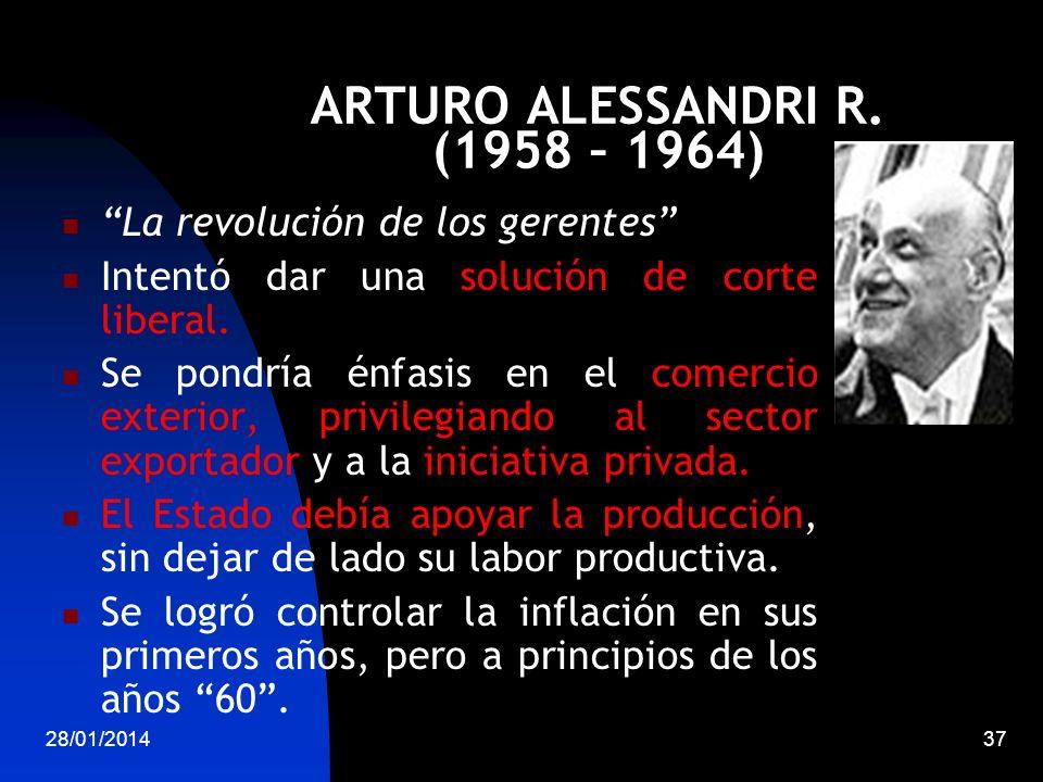 ARTURO ALESSANDRI R. (1958 – 1964) La revolución de los gerentes Intentó dar una solución de corte liberal. Se pondría énfasis en el comercio exterior