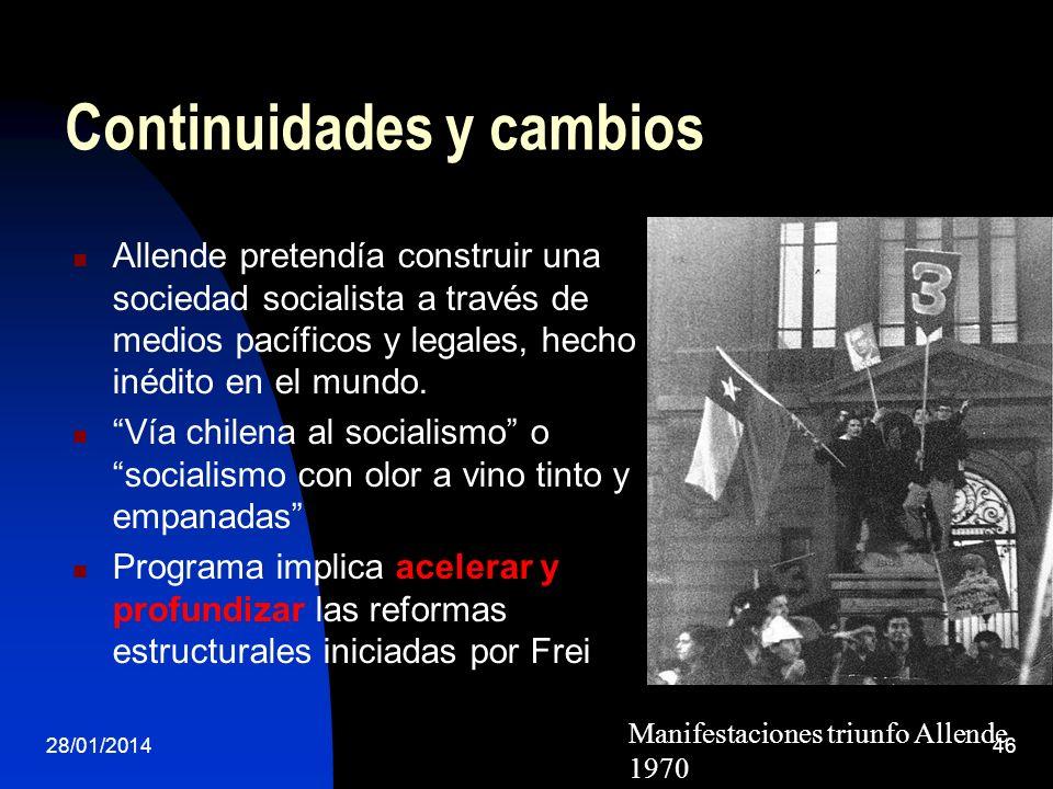 Continuidades y cambios Allende pretendía construir una sociedad socialista a través de medios pacíficos y legales, hecho inédito en el mundo. Vía chi