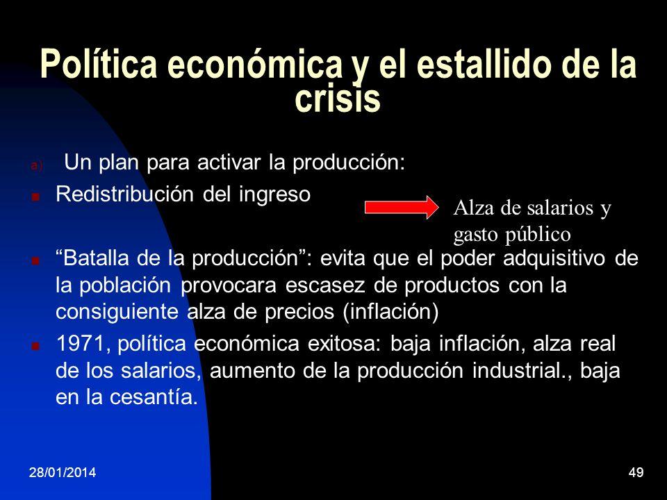 Política económica y el estallido de la crisis a) Un plan para activar la producción: Redistribución del ingreso Batalla de la producción: evita que e