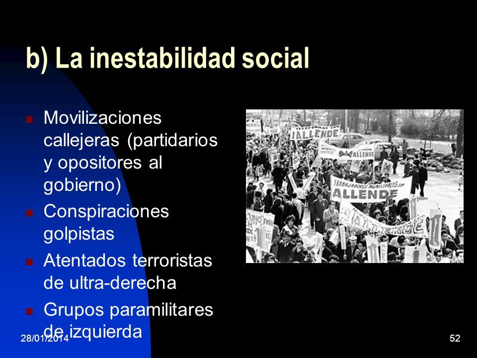 b) La inestabilidad social Movilizaciones callejeras (partidarios y opositores al gobierno) Conspiraciones golpistas Atentados terroristas de ultra-de