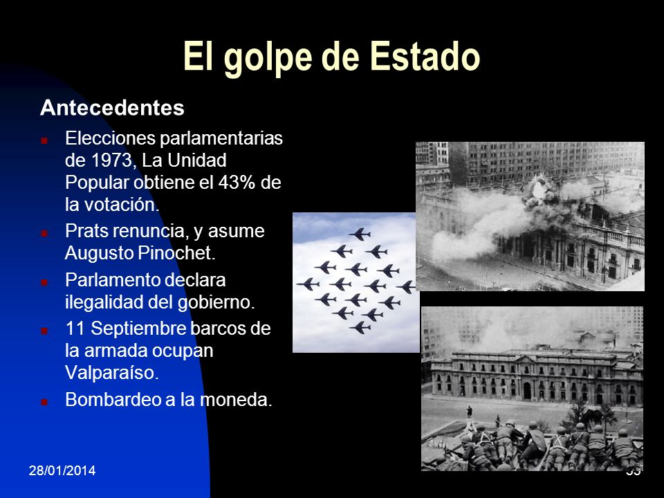 El golpe de Estado Antecedentes Elecciones parlamentarias de 1973, La Unidad Popular obtiene el 43% de la votación. Prats renuncia, y asume Augusto Pi