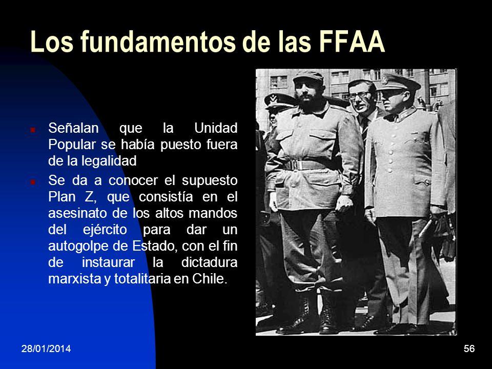 Los fundamentos de las FFAA Señalan que la Unidad Popular se había puesto fuera de la legalidad Se da a conocer el supuesto Plan Z, que consistía en e