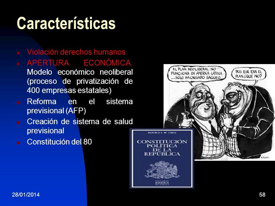 Características Violación derechos humanos APERTURA ECONÓMICA. Modelo económico neoliberal (proceso de privatización de 400 empresas estatales) Reform