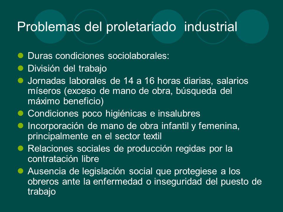 Problemas del proletariado industrial Duras condiciones sociolaborales: División del trabajo Jornadas laborales de 14 a 16 horas diarias, salarios mís