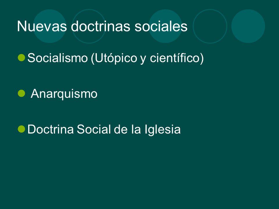 Nuevas doctrinas sociales Socialismo (Utópico y científico) Anarquismo Doctrina Social de la Iglesia