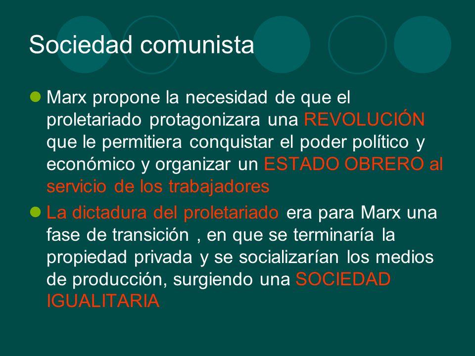 Sociedad comunista Marx propone la necesidad de que el proletariado protagonizara una REVOLUCIÓN que le permitiera conquistar el poder político y econ