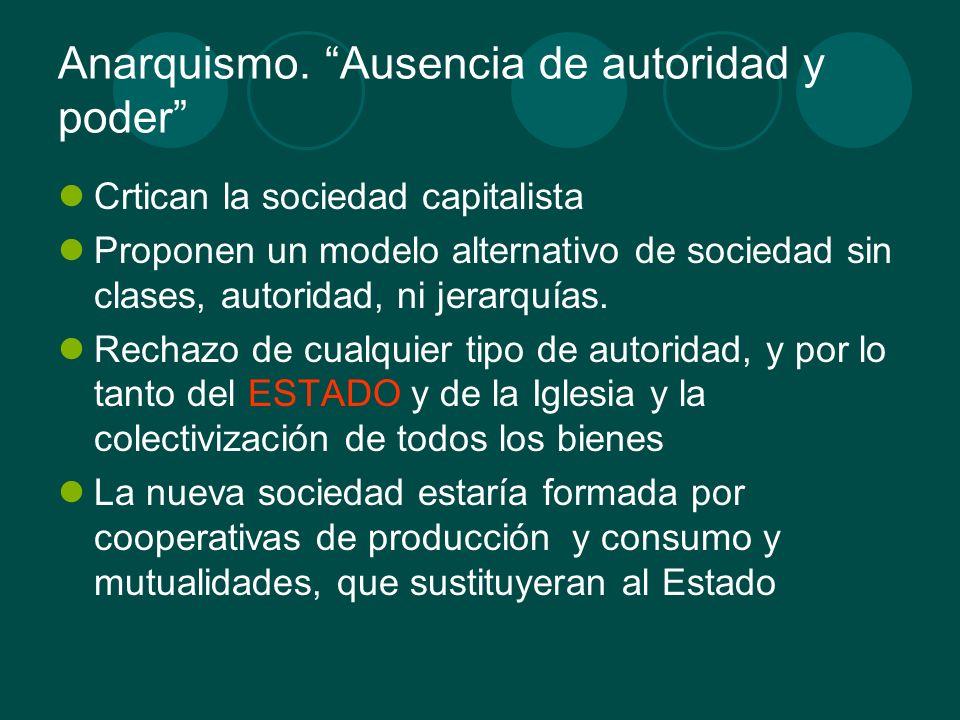 Anarquismo. Ausencia de autoridad y poder Crtican la sociedad capitalista Proponen un modelo alternativo de sociedad sin clases, autoridad, ni jerarqu