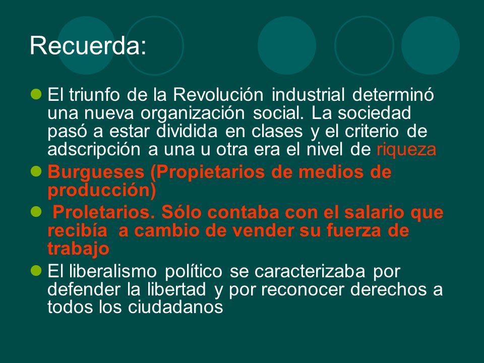 Recuerda: El triunfo de la Revolución industrial determinó una nueva organización social. La sociedad pasó a estar dividida en clases y el criterio de