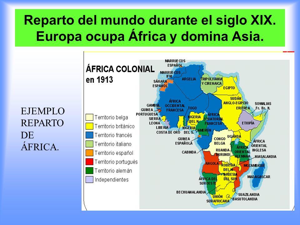 Reparto del mundo durante el siglo XIX. Europa ocupa África y domina Asia. EJEMPLO REPARTO DE ÁFRICA.