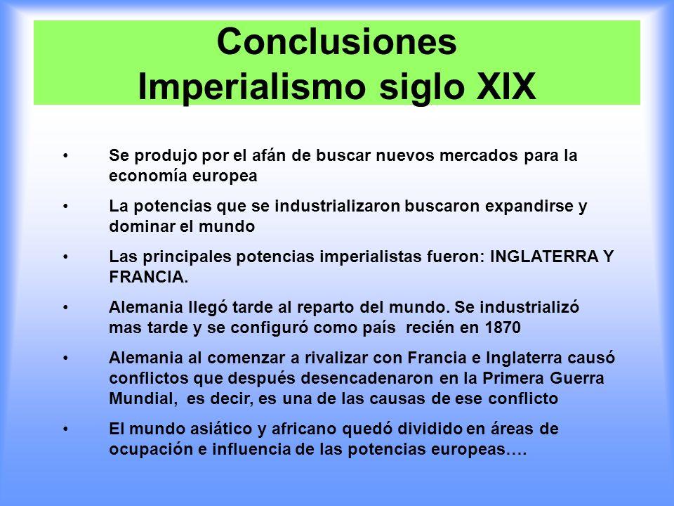 Conclusiones Imperialismo siglo XIX Se produjo por el afán de buscar nuevos mercados para la economía europea La potencias que se industrializaron bus