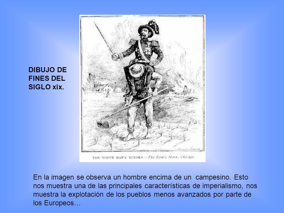 En la imagen se observa un hombre encima de un campesino. Esto nos muestra una de las principales características de imperialismo, nos muestra la expl