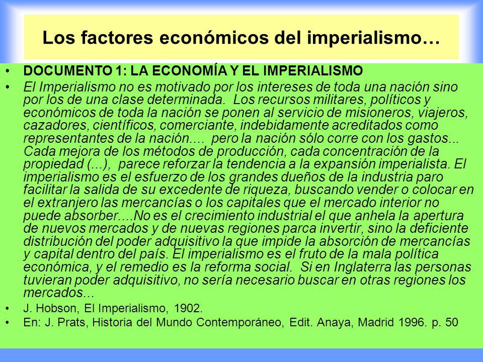 Los factores económicos del imperialismo… DOCUMENTO 1: LA ECONOMÍA Y EL IMPERIALISMO El Imperialismo no es motivado por los intereses de toda una naci