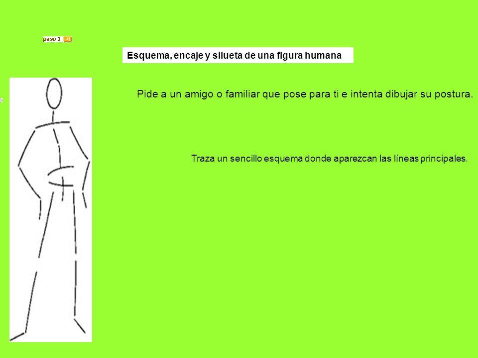 Pide a un amigo o familiar que pose para ti e intenta dibujar su postura. Traza un sencillo esquema donde aparezcan las líneas principales. Esquema, e