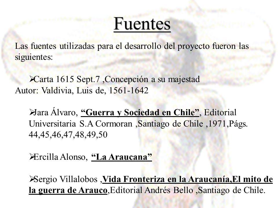 Fuentes Las fuentes utilizadas para el desarrollo del proyecto fueron las siguientes: Carta 1615 Sept.7,Concepción a su majestad Autor: Valdivia, Luis
