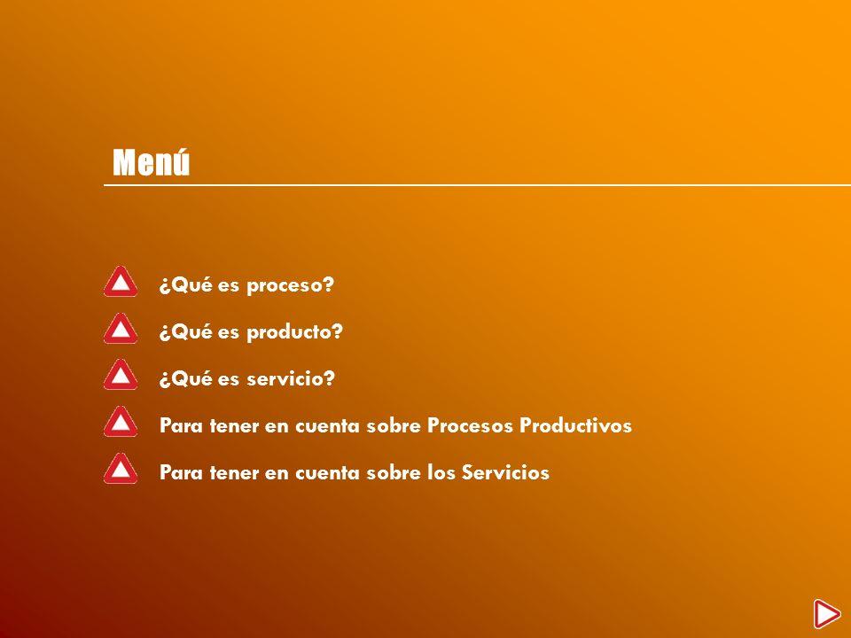 Menú ¿Qué es proceso? ¿Qué es producto? ¿Qué es servicio? Para tener en cuenta sobre Procesos Productivos Para tener en cuenta sobre los Servicios