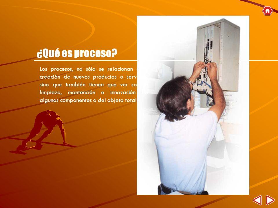 Los procesos, no sólo se relacionan a la creación de nuevos productos o servicios, sino que también tienen que ver con la limpieza, mantención e innov