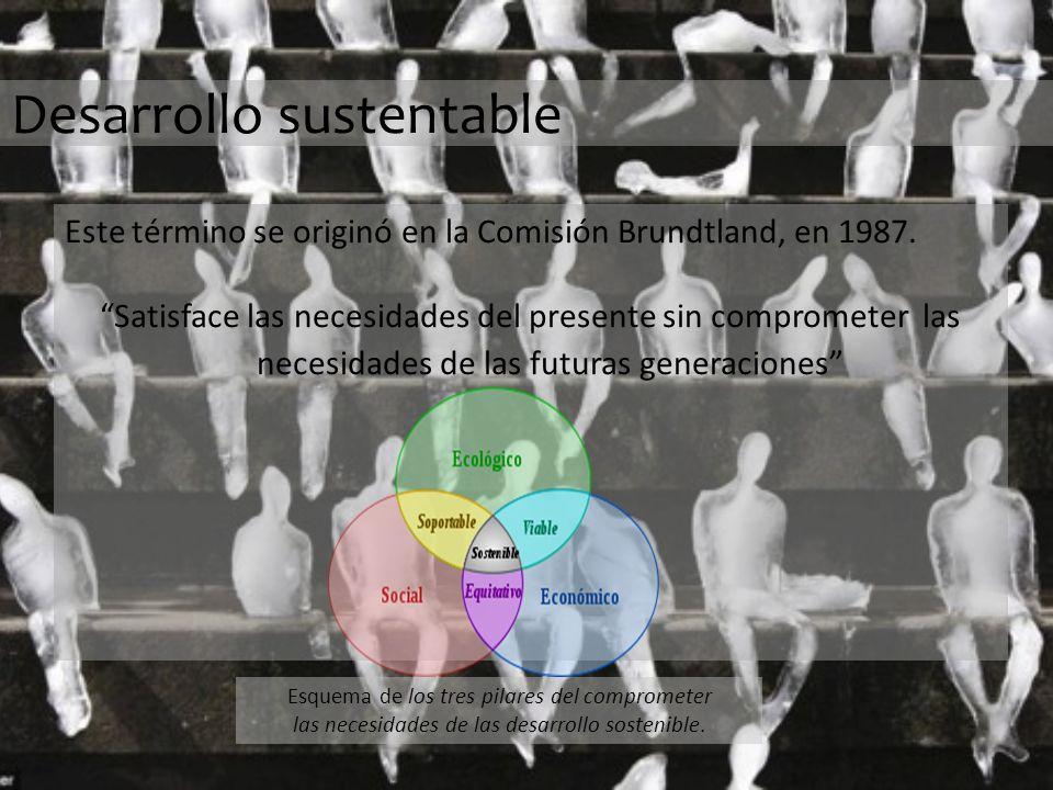 Desarrollo sustentable Este término se originó en la Comisión Brundtland, en 1987.