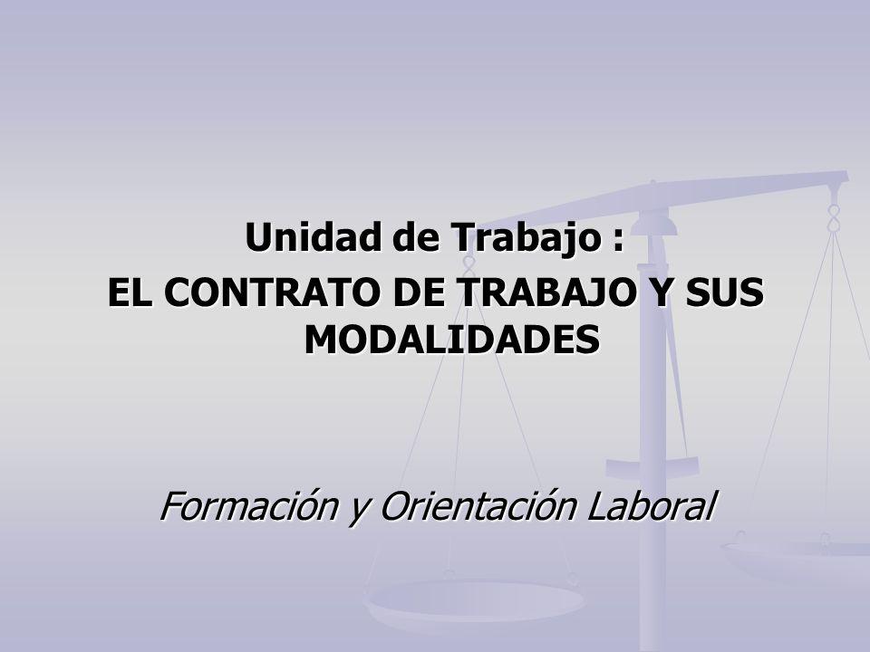 Unidad de Trabajo : EL CONTRATO DE TRABAJO Y SUS MODALIDADES Formación y Orientación Laboral