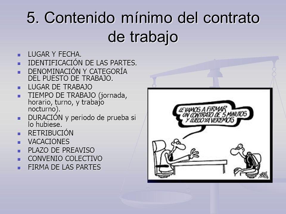 5. Contenido mínimo del contrato de trabajo LUGAR Y FECHA. LUGAR Y FECHA. IDENTIFICACIÓN DE LAS PARTES. IDENTIFICACIÓN DE LAS PARTES. DENOMINACIÓN Y C