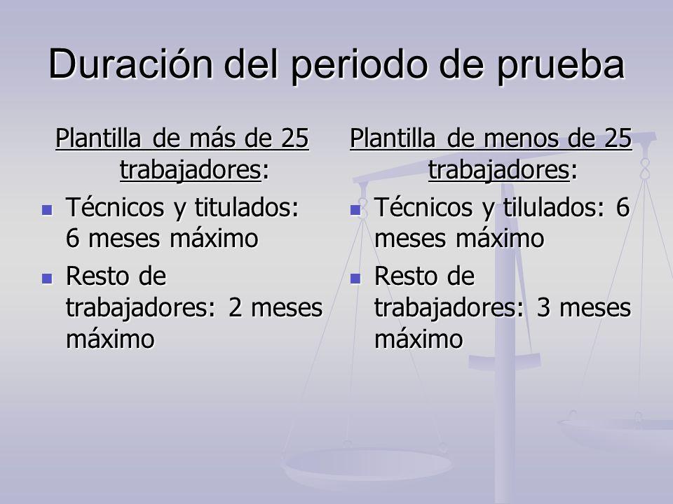 Duración del periodo de prueba Plantilla de más de 25 trabajadores: Técnicos y titulados: 6 meses máximo Técnicos y titulados: 6 meses máximo Resto de