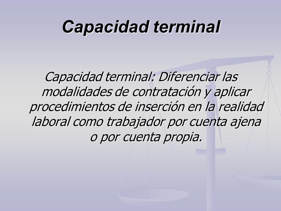Capacidad terminal Capacidad terminal: Diferenciar las modalidades de contratación y aplicar procedimientos de inserción en la realidad laboral como t