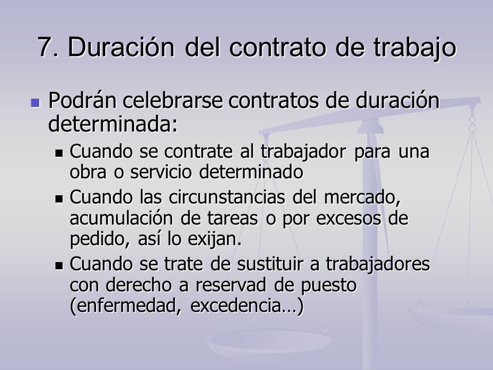 7. Duración del contrato de trabajo Podrán celebrarse contratos de duración determinada: Podrán celebrarse contratos de duración determinada: Cuando s