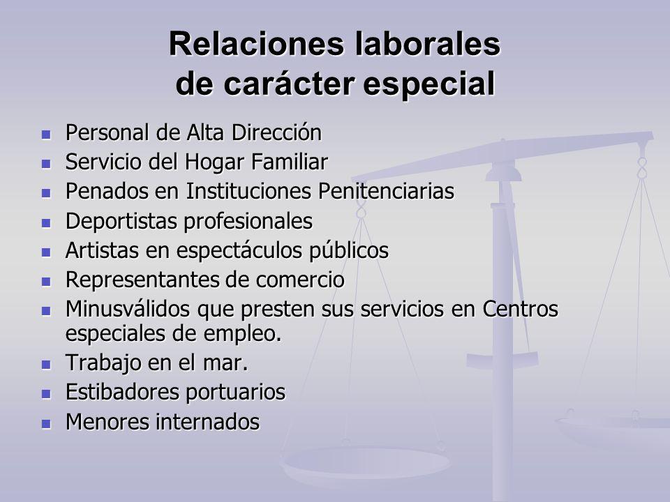 Relaciones laborales de carácter especial Personal de Alta Dirección Personal de Alta Dirección Servicio del Hogar Familiar Servicio del Hogar Familia