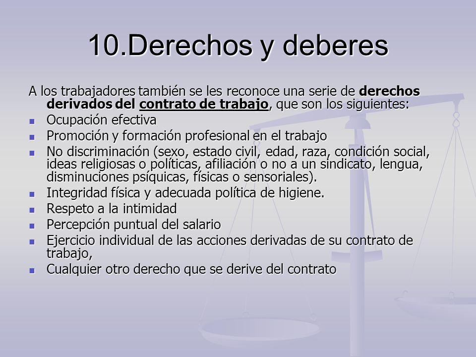 10.Derechos y deberes A los trabajadores también se les reconoce una serie de derechos derivados del contrato de trabajo, que son los siguientes: Ocup