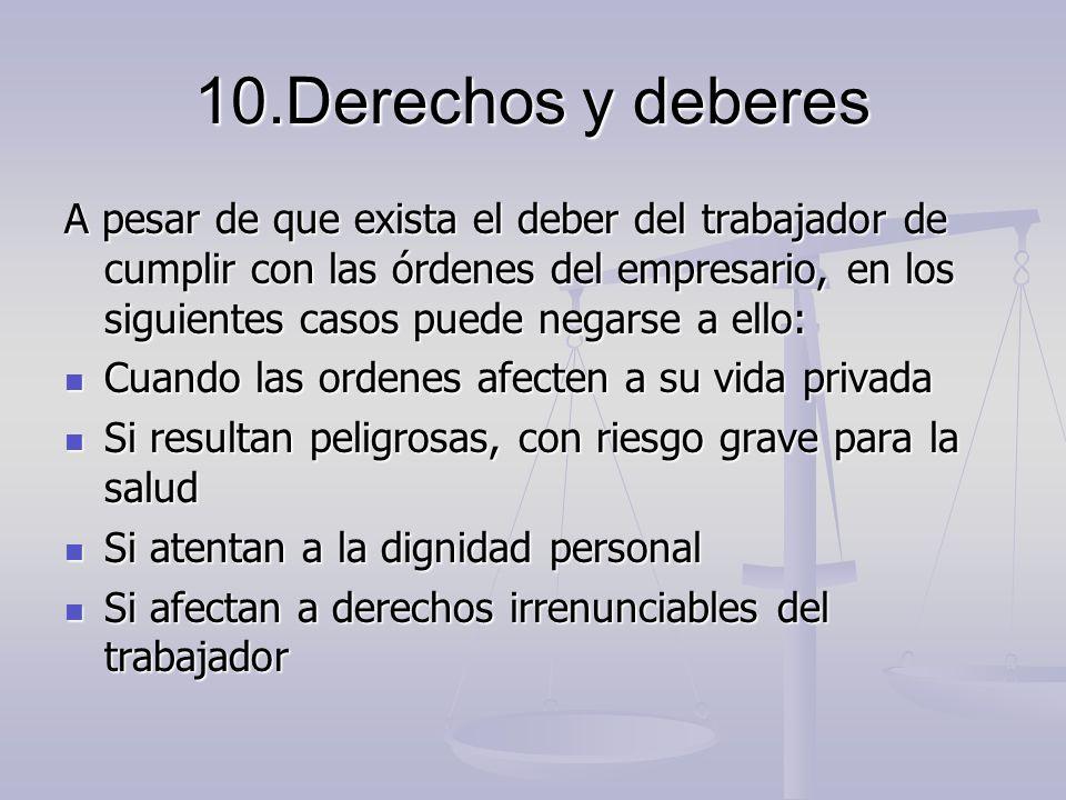 10.Derechos y deberes A pesar de que exista el deber del trabajador de cumplir con las órdenes del empresario, en los siguientes casos puede negarse a