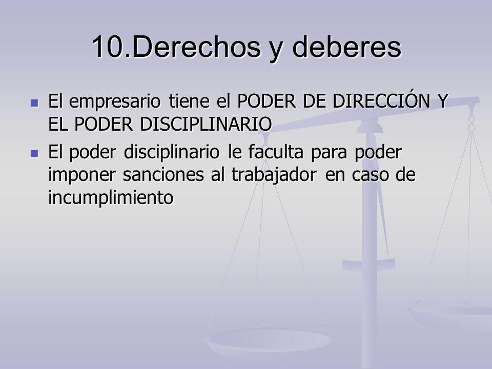10.Derechos y deberes El empresario tiene el PODER DE DIRECCIÓN Y EL PODER DISCIPLINARIO El empresario tiene el PODER DE DIRECCIÓN Y EL PODER DISCIPLI