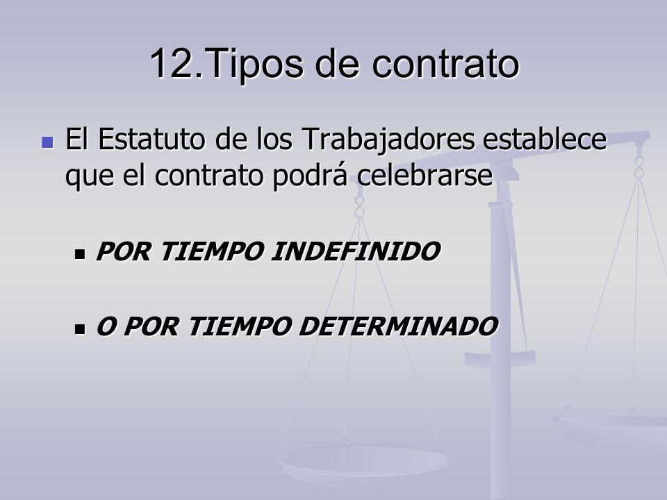 12.Tipos de contrato El Estatuto de los Trabajadores establece que el contrato podrá celebrarse El Estatuto de los Trabajadores establece que el contr
