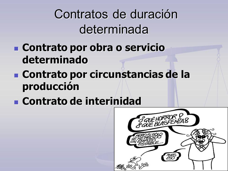 Contratos de duración determinada Contratos de duración determinada Contrato por obra o servicio determinado Contrato por obra o servicio determinado