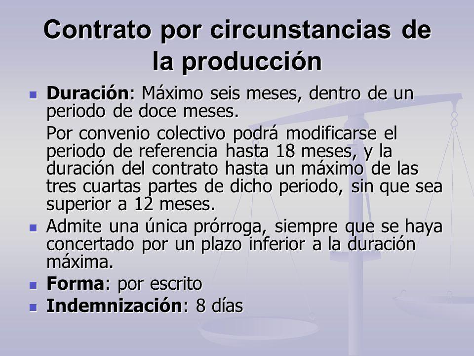 Contrato por circunstancias de la producción Duración: Máximo seis meses, dentro de un periodo de doce meses. Duración: Máximo seis meses, dentro de u