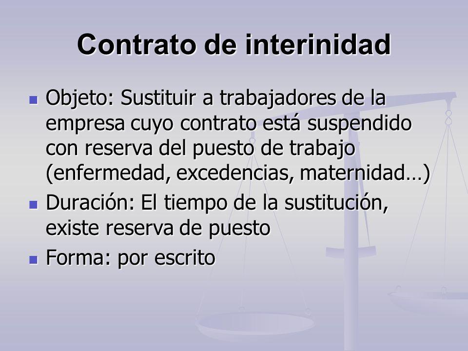 Contrato de interinidad Objeto: Sustituir a trabajadores de la empresa cuyo contrato está suspendido con reserva del puesto de trabajo (enfermedad, ex