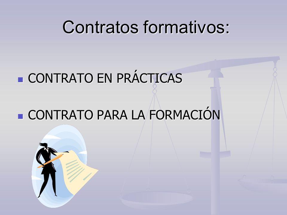 Contratos formativos: Contratos formativos: CONTRATO EN PRÁCTICAS CONTRATO EN PRÁCTICAS CONTRATO PARA LA FORMACIÓN CONTRATO PARA LA FORMACIÓN