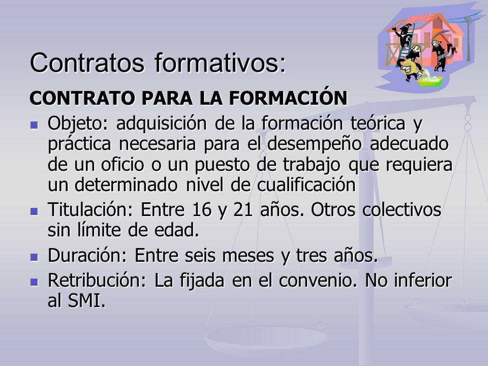 Contratos formativos: CONTRATO PARA LA FORMACIÓN Objeto: adquisición de la formación teórica y práctica necesaria para el desempeño adecuado de un ofi