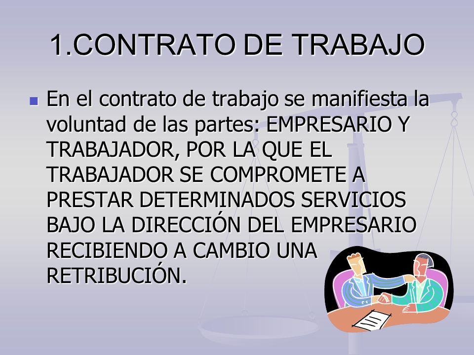 1.CONTRATO DE TRABAJO En el contrato de trabajo se manifiesta la voluntad de las partes: EMPRESARIO Y TRABAJADOR, POR LA QUE EL TRABAJADOR SE COMPROME