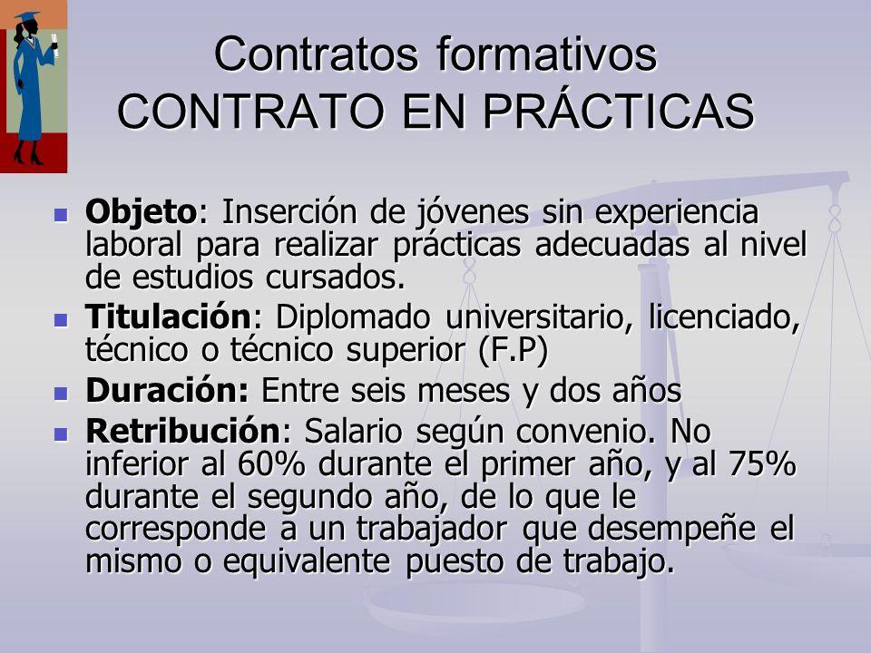 Contratos formativos CONTRATO EN PRÁCTICAS Objeto: Inserción de jóvenes sin experiencia laboral para realizar prácticas adecuadas al nivel de estudios