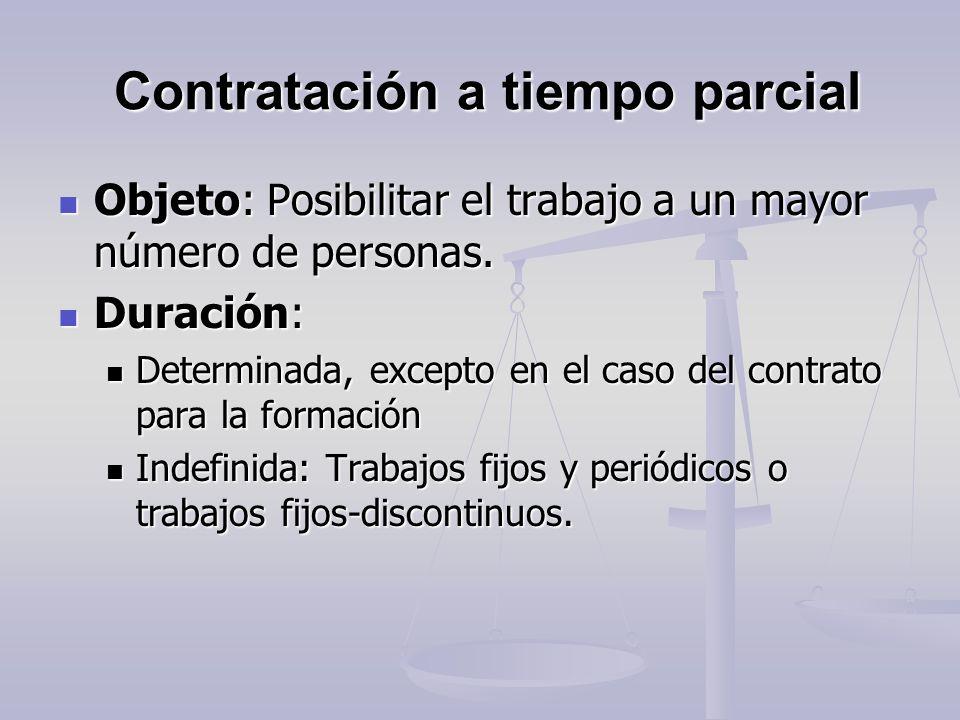 Contratación a tiempo parcial Contratación a tiempo parcial Objeto: Posibilitar el trabajo a un mayor número de personas. Objeto: Posibilitar el traba