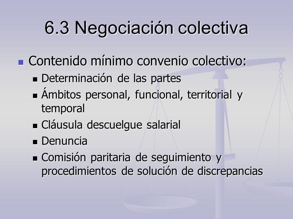 6.3 Negociación colectiva Contenido mínimo convenio colectivo: Contenido mínimo convenio colectivo: Determinación de las partes Determinación de las p