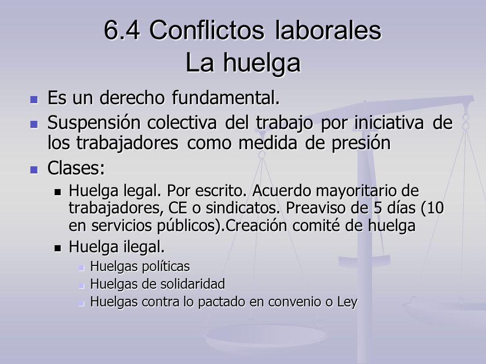 6.4 Conflictos laborales La huelga Es un derecho fundamental. Es un derecho fundamental. Suspensión colectiva del trabajo por iniciativa de los trabaj