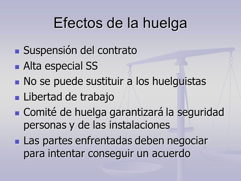 Efectos de la huelga Suspensión del contrato Suspensión del contrato Alta especial SS Alta especial SS No se puede sustituir a los huelguistas No se p