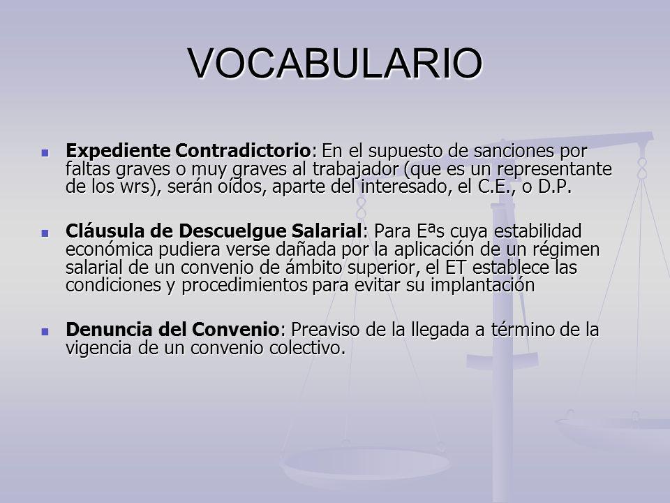VOCABULARIO Expediente Contradictorio: En el supuesto de sanciones por faltas graves o muy graves al trabajador (que es un representante de los wrs),