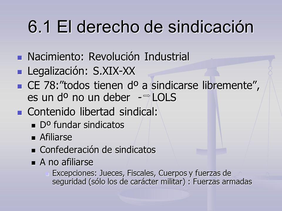 6.1 El derecho de sindicación Nacimiento: Revolución Industrial Nacimiento: Revolución Industrial Legalización: S.XIX-XX Legalización: S.XIX-XX CE 78: