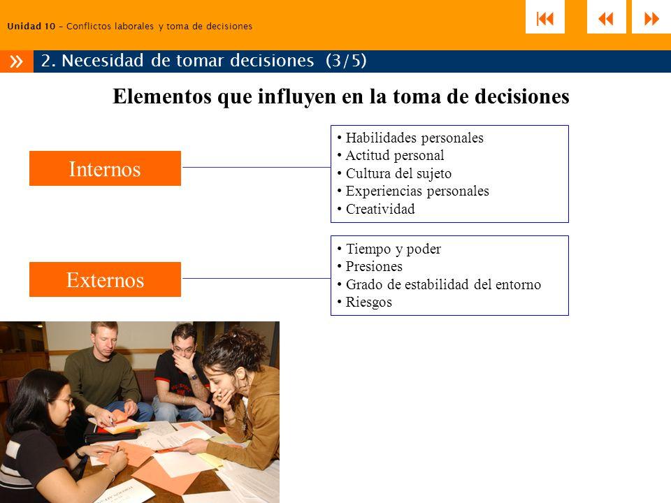 Unidad 10 – Conflictos laborales y toma de decisiones 2. Necesidad de tomar decisiones (3/5) » Habilidades personales Actitud personal Cultura del suj