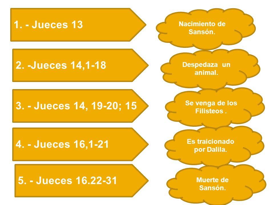 1.- Jueces 13 Nacimiento de Sansón. 2. -Jueces 14,1-18 3.