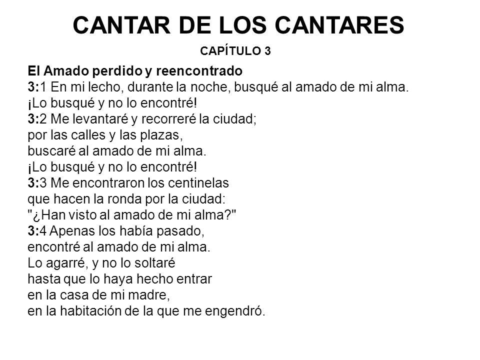 CAPÍTULO 3 CANTAR DE LOS CANTARES El Amado perdido y reencontrado 3:1 En mi lecho, durante la noche, busqué al amado de mi alma.