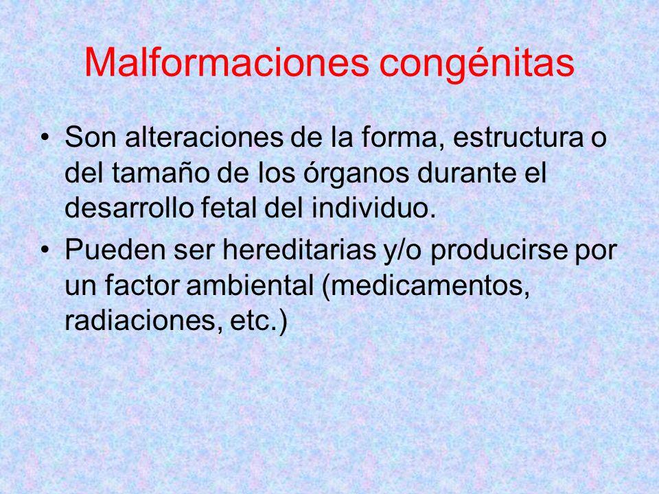 Malformaciones congénitas Son alteraciones de la forma, estructura o del tamaño de los órganos durante el desarrollo fetal del individuo. Pueden ser h