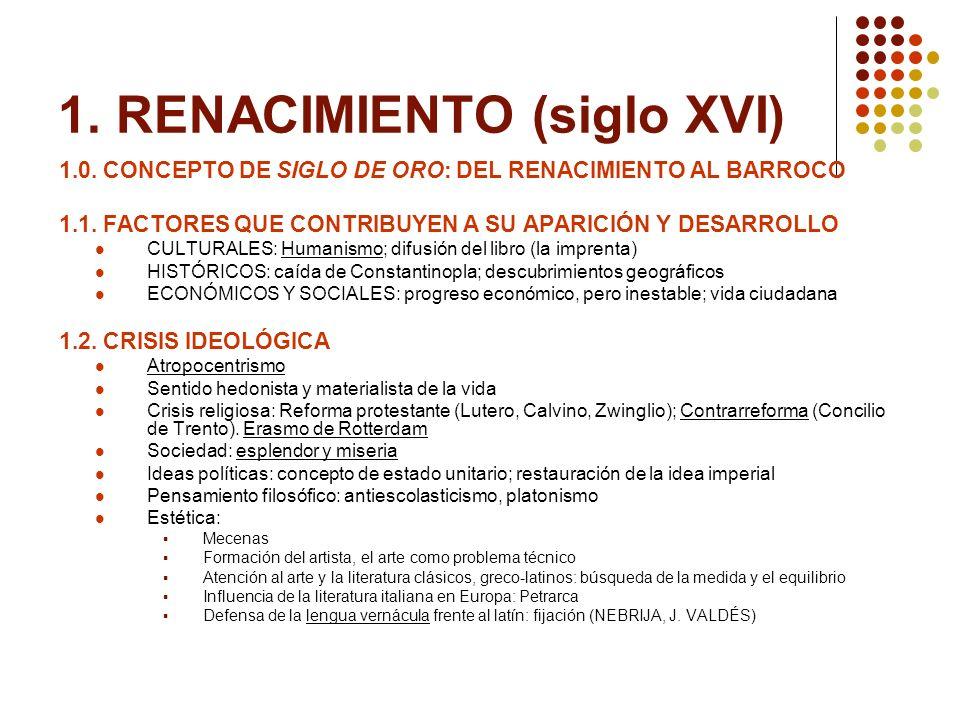1. RENACIMIENTO (siglo XVI) 1.0. CONCEPTO DE SIGLO DE ORO: DEL RENACIMIENTO AL BARROCO 1.1. FACTORES QUE CONTRIBUYEN A SU APARICIÓN Y DESARROLLO CULTU