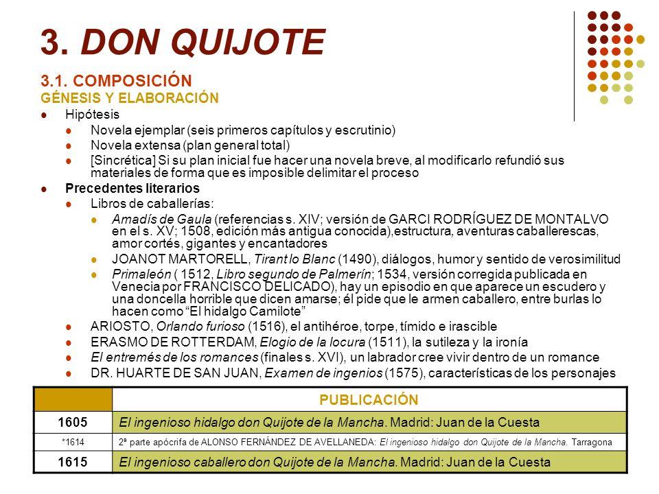 3. DON QUIJOTE 3.1. COMPOSICIÓN GÉNESIS Y ELABORACIÓN Hipótesis Novela ejemplar (seis primeros capítulos y escrutinio) Novela extensa (plan general to